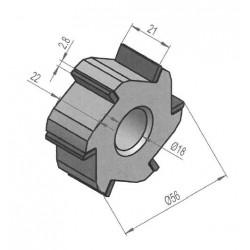 Fraise au carbure de tungstène 6 pointes / 56x22x25 mm