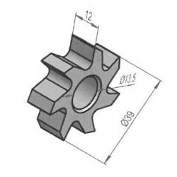 Fraise entièrement au carbure de tungstène 7 pointes / 39x11 mm